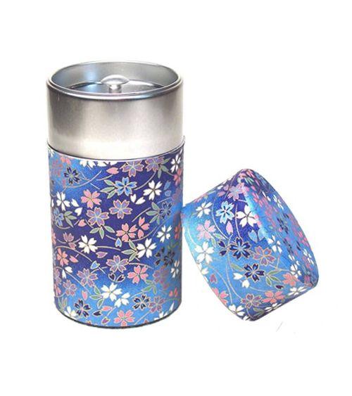 Boîte à thé Japon bleu fleurs 6.5 X 12.50 CM